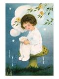 Illustration of Girl Sitting on Mushroom by Margaret Evans Price Giclee Print