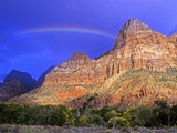 Rainbow, The Watchman, Zion National Park, Utah, USA Photographic Print by Michael Wheatley