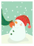 A Snowman Hanging an Ornament on a Tree Giclee Print