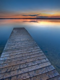 Sunset Over a Wooden Wharf on Lake Audy, Riding Mountain National Park, Manitoba, Canada Photographic Print by Rolf Hicker
