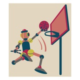 Robot shooting hoops Giclee Print by Sabet Brands