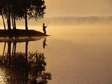 Man Fishing at Lake Photographic Print by Peter Beck