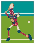 Robot playing tennis Lámina giclée por Sabet Brands