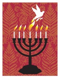 A dove rising from the candles of a menorah Giclee Print