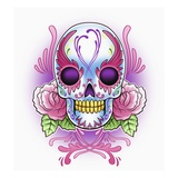 Day of the Dead skull with roses Reproduction procédé giclée