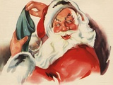 Santa Claus filling Christmas stocking Photographic Print