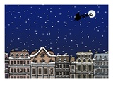 Silhouette of a Santa Claus on a sleigh flying over a city at night Giclee Print