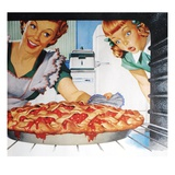 Woman taking cherry pie from oven Giclee Print