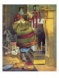 Illustration of Santa Claus placing toys in Christmas stockings by William Roger Snow Giclee Print