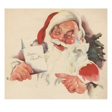Santa Claus reading letter Giclee Print