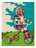 Young robot riding a tricycle Giclee Print by Sabet Brands