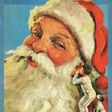 Boy whispering into Santa's ear Photographic Print