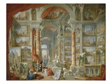 Picture Gallery with Views of Modern Rome Giclee Print by Giovanni Paolo Panini