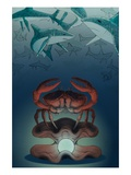 Crab Protecting Pearl from Circling Sharks Giclee Print