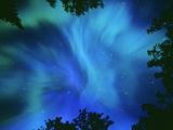 Northern Lights Or Aurora Borealis, Tilton Lake, Sudbury, Ontario, Canada. Fotografisk tryk af Mike Grandmaison