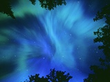 Northern Lights Or Aurora Borealis, Tilton Lake, Sudbury, Ontario, Canada. Fotografie-Druck von Mike Grandmaison