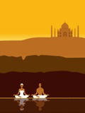 Couple Meditating in front of the Taj Mahal Photographic Print