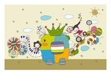 Children on Elephant Back Giclee Print