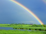 Double rainbow over lake and rural landscape Photographic Print by Mike Grandmaison