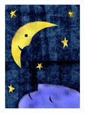 Crescent moon and sleeping man Giclee Print by Harry Briggs