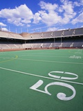 50 Yard Line on Empty Football Field Photographic Print by Alan Schein