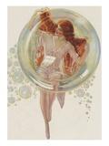 Beautiful redhead in bubble Giclee Print