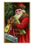 Postcard with Santa Claus Holding Presents Giclee Print by Trolley Dodger