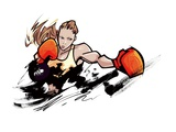 Woman wearing boxing glove Giclee Print