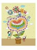 Children playing by potted plant Giclee Print