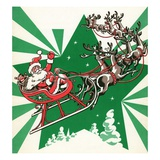 Illustration of Santa's Sled Pulled by Reindeer Reproduction procédé giclée