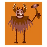 Monster with hammer Giclee Print by Matthew Laznicka