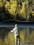Flyfisherman and Fall Reflections, Bulkley River,Smithers, British Columbia, Canada. Photographic Print by Keith Douglas
