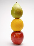 Stack of three fruits in a row Photographic Print