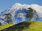 Lush hills in front of Mount Egmont Photographic Print by Jami Tarris