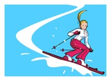 Low Angle View of a Woman Skiing Giclée-Druck