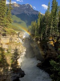 A Vertical Image of the Athabasca Falls on the Athabasca River with a Colorful Rainbow and Mount Ke Photographic Print by Robert McGouey