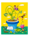 Children playing with potted plants Giclee Print