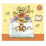 Children on open book by tree trunk Giclee Print
