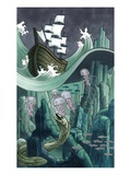 Ship Traveling Sharp Rocks and Dangerous Sea Creatures Giclee Print