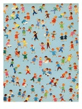 Background Illustration of Children Playing Giclee Print