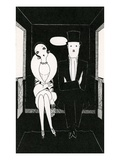 Illustration of Couple Sitting Inside Carriage by Anne Harriet Fish Giclee Print