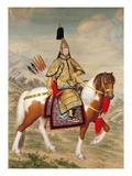 The Qianlong Emperor in Ceremonial Armour on Horseback Giclee Print by Giuseppe Castiglione