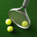 Tennis racket and tennis ball Photographic Print