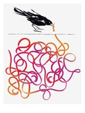 Bird Catching Really Long Worm Giclee Print