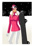 Woman holding a snowboard Giclee Print