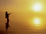 Fly-fishing at Dawn on 108 Mile Lake, British Columbia, Canada. Photographic Print by Chris Harris