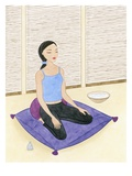 Woman Meditating on Blue Pillow Giclee Print