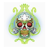 Day of the Dead skull with dice Giclee Print