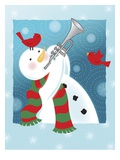 A Happy Snowman Playing the Trumpet Giclee Print