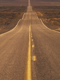 USA, California, Death Valley- Long Shot of Desert Highway Lmina fotogrfica por Chris Cheadle
